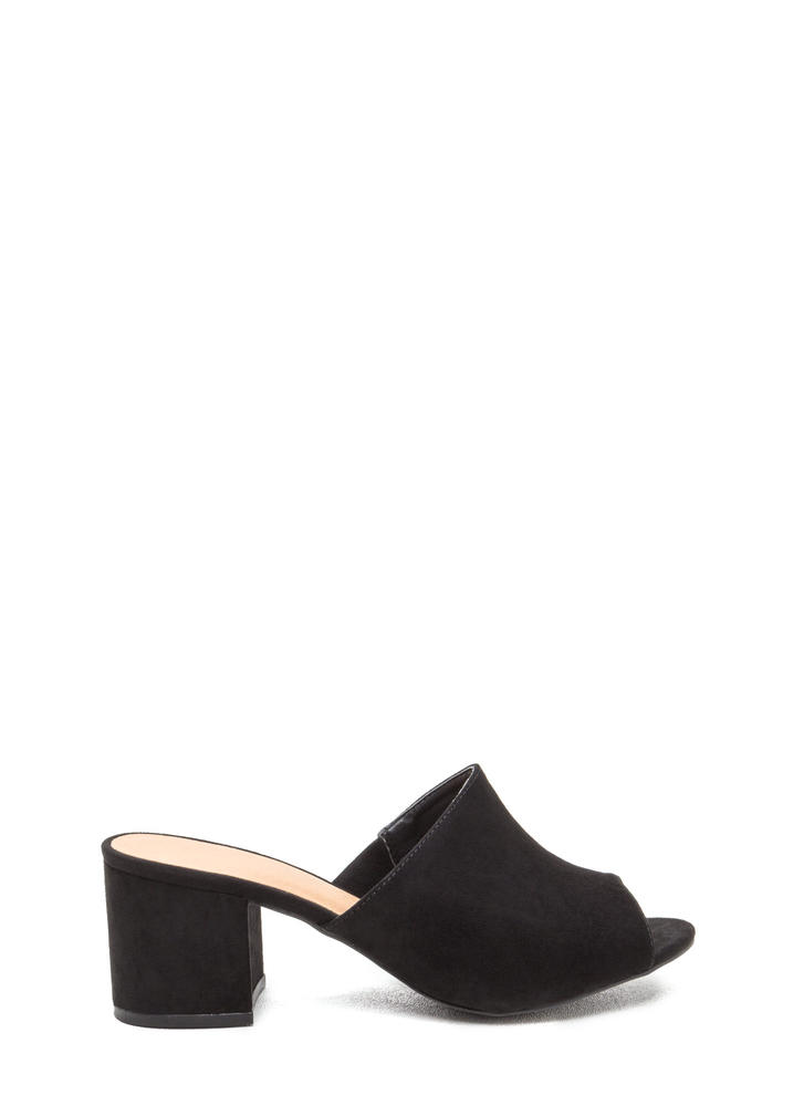 Low And Behold Chunky Peep-Toe Mules BLACK