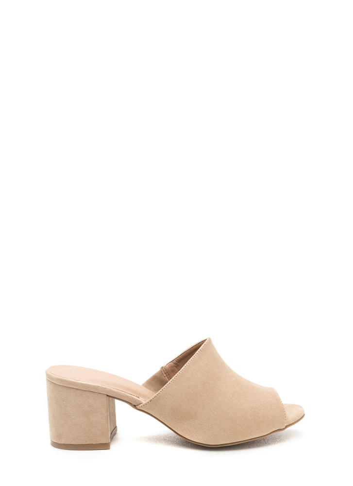 Low And Behold Chunky Peep-Toe Mules