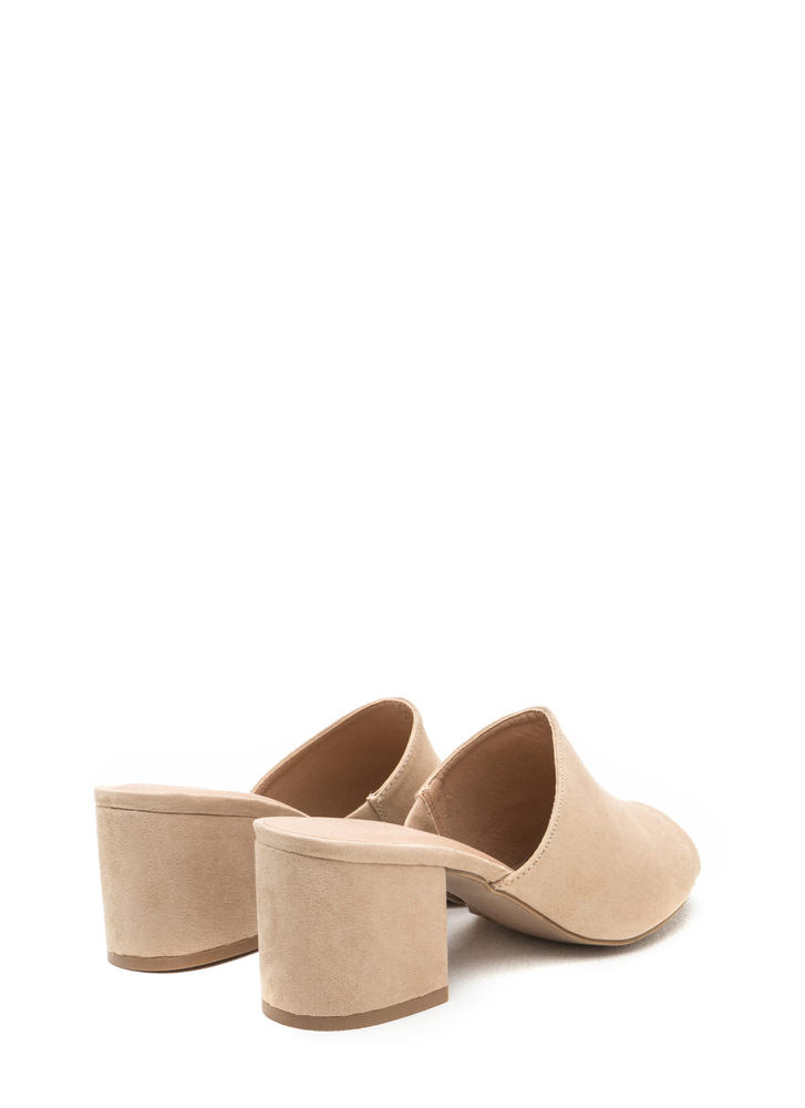 Low And Behold Chunky Peep-Toe Mules NATURAL