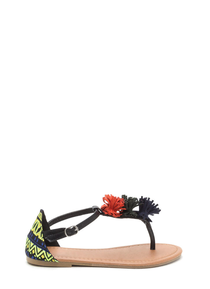Pom-Pom Feature Tribal T-Strap Sandals BLACK
