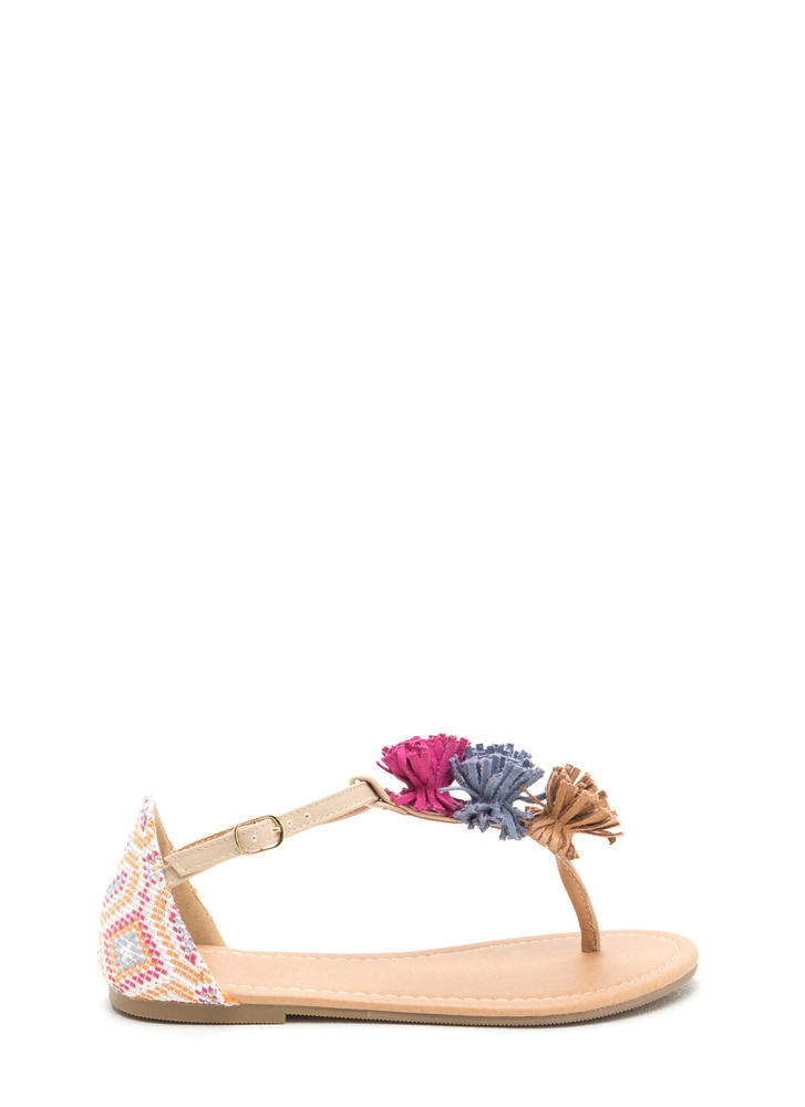 Pom-Pom Feature Tribal T-Strap Sandals NATURAL