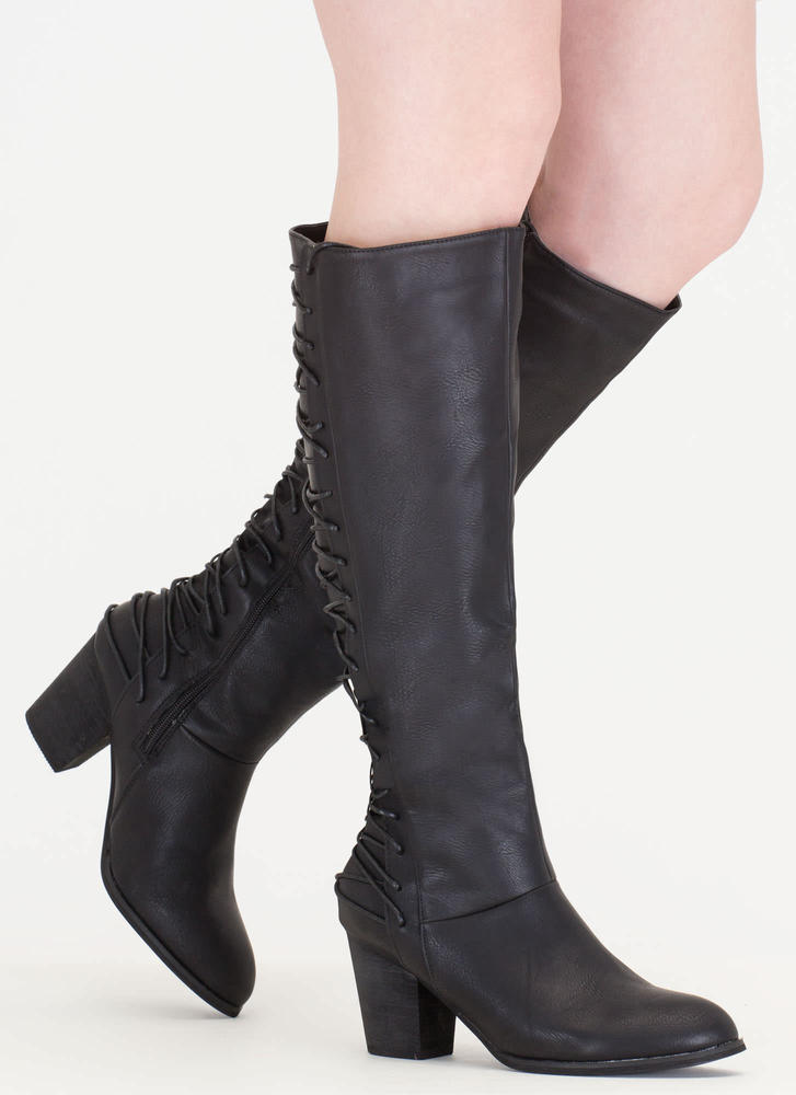 All Day Style Chunky Lace-Back Boots BLACK