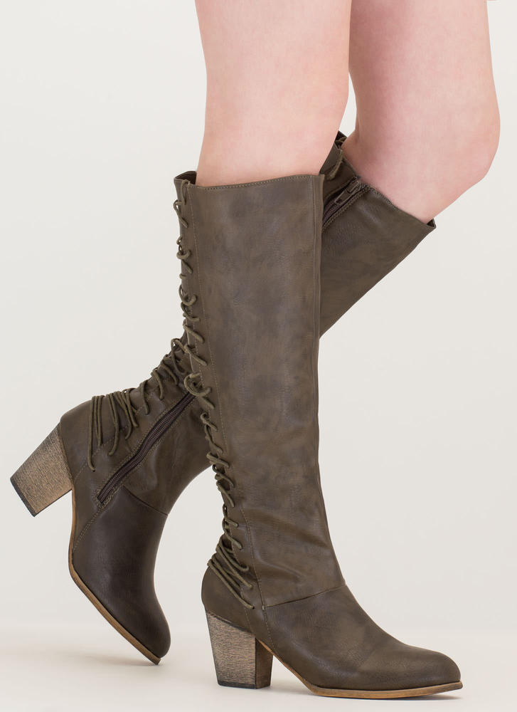 All Day Style Chunky Lace-Back Boots OLIVE