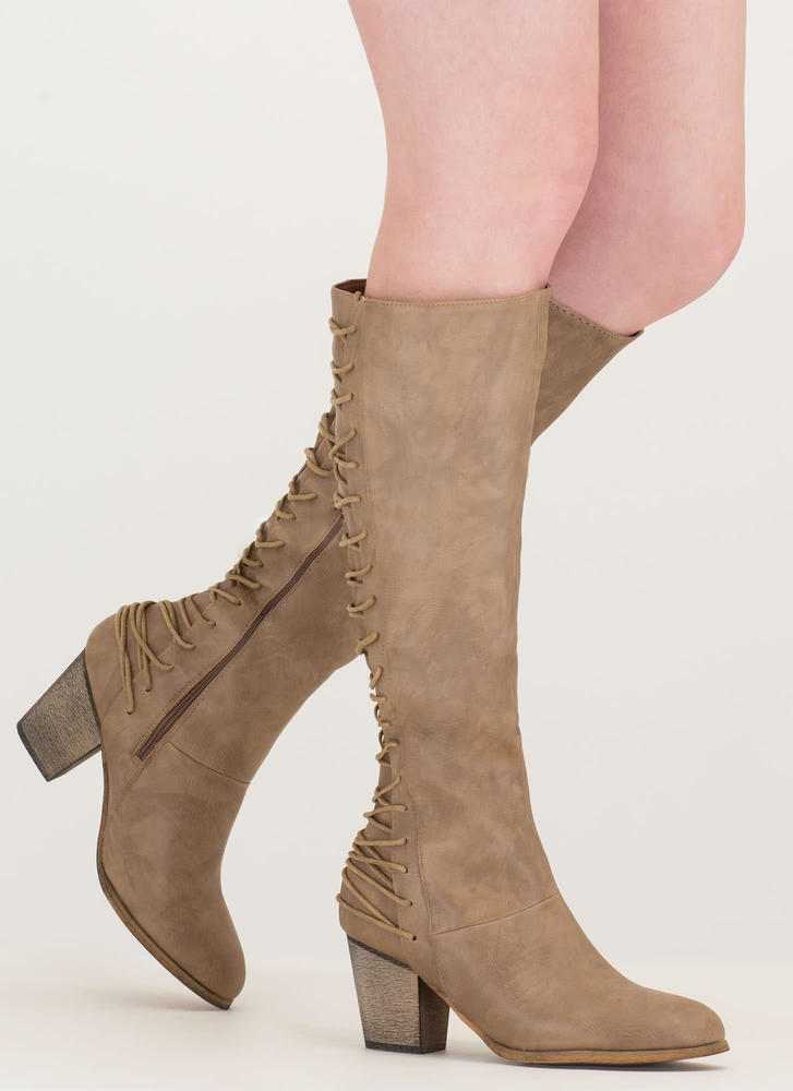 All Day Style Chunky Lace-Back Boots TAUPE