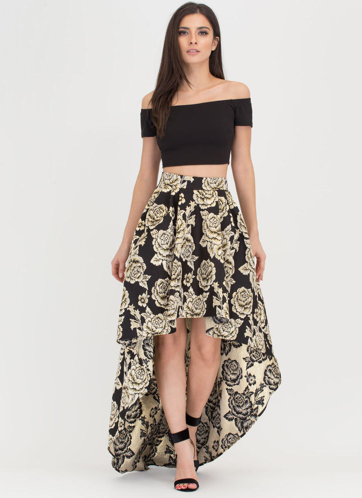 Grand Entrance Floral Two-Piece Dress BLACKGOLD
