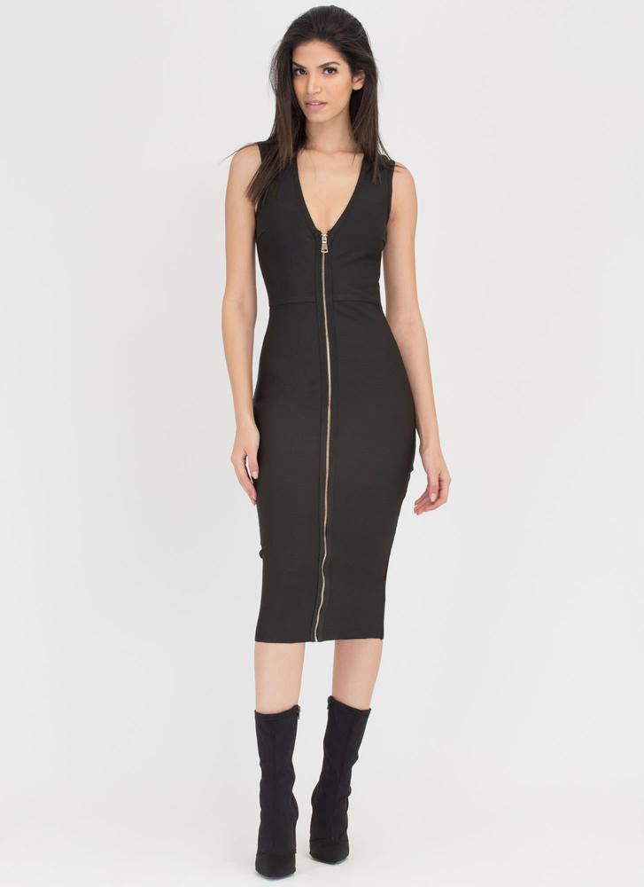 Chic Figure Zip-Up Bodycon Midi Dress