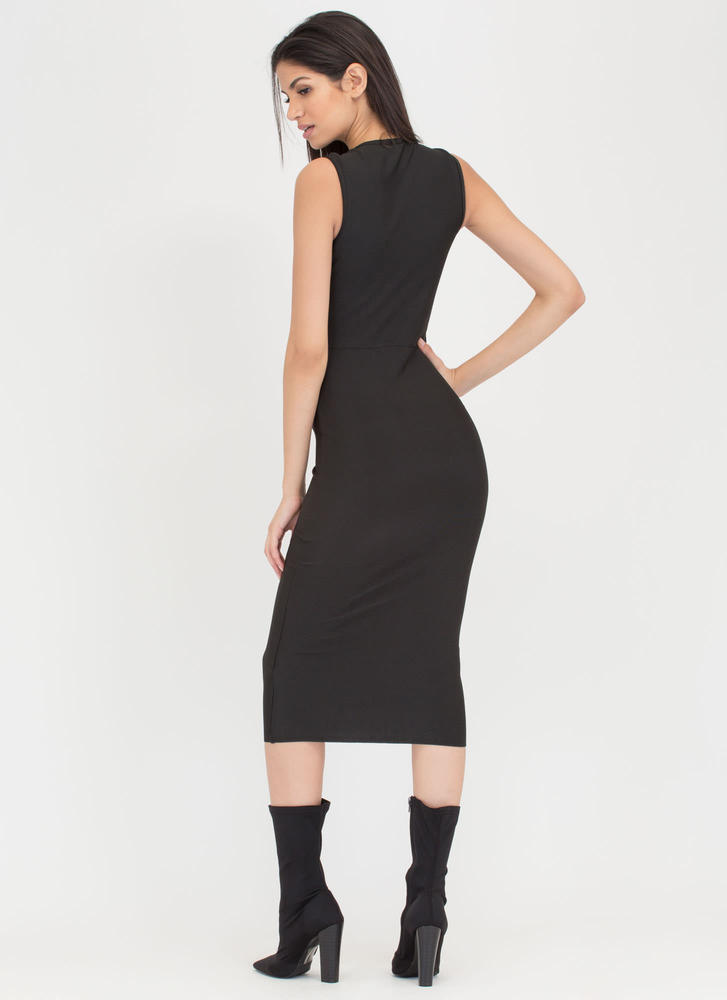 Chic Figure Zip-Up Bodycon Midi Dress BLACK