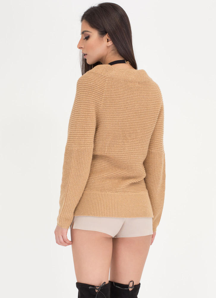 Wrap Sheet Ribbed Dolman Sweater NUDE (Final Sale)