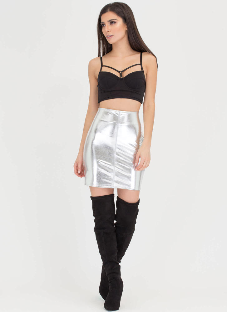 Shiny And New Metallic Miniskirt SILVER