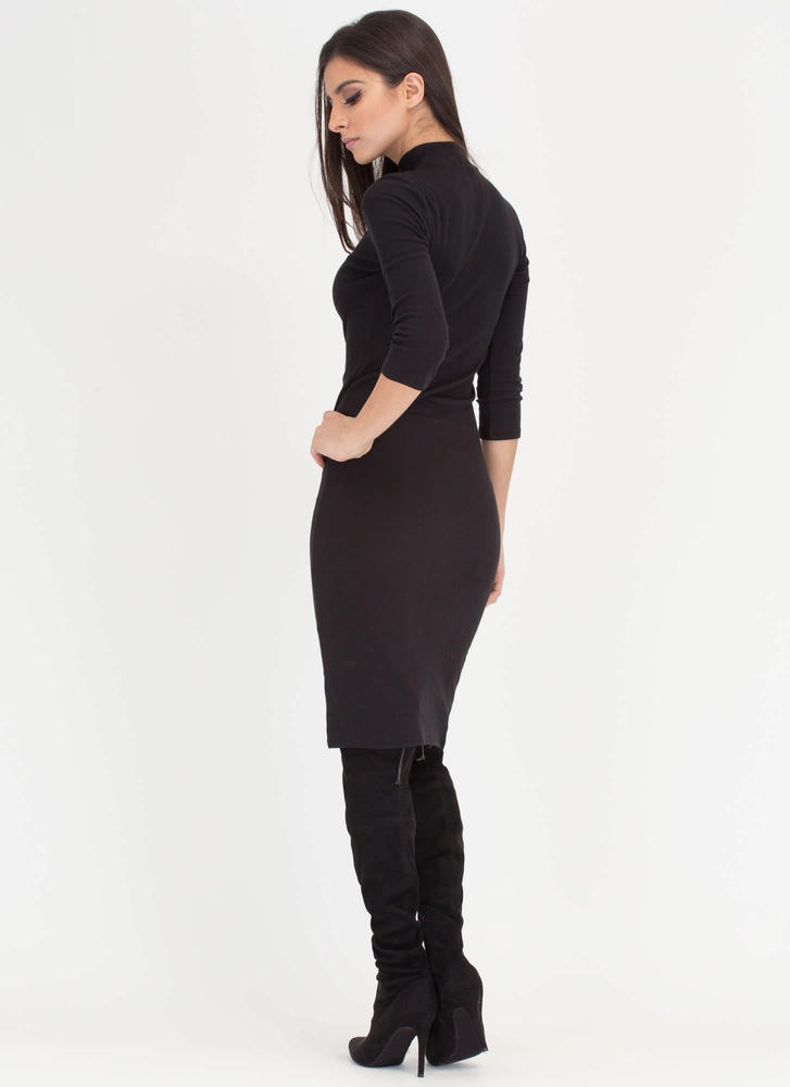 Back To Basics Ribbed Mockneck Dress BLACK