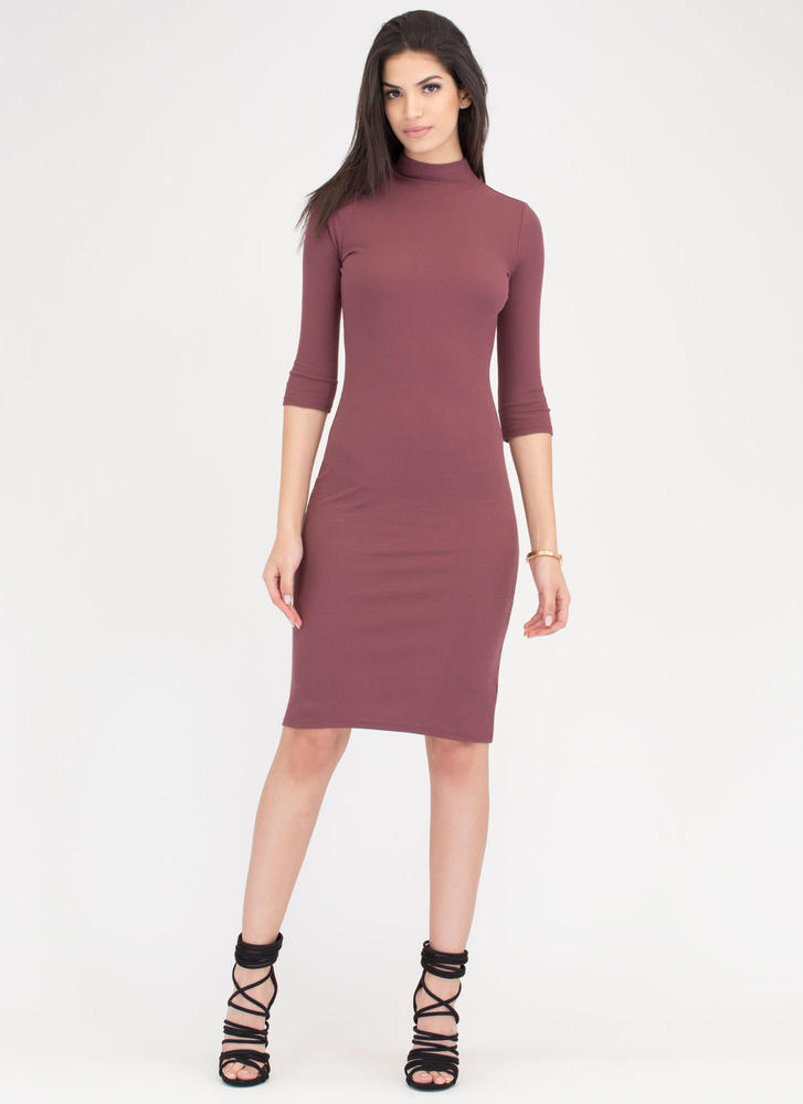 Back To Basics Ribbed Mockneck Dress MARSALA