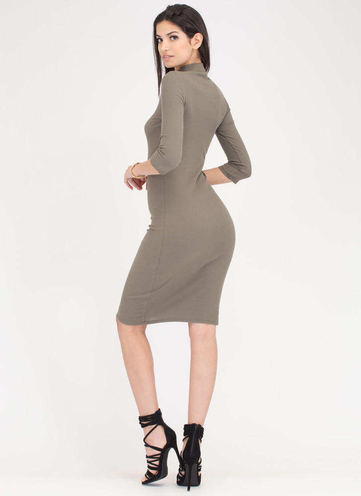 Back To Basics Ribbed Mockneck Dress OLIVE