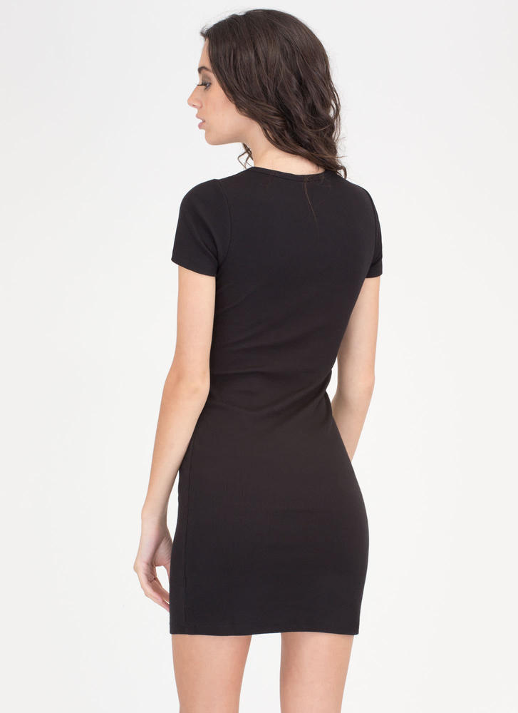 Learn The Basics Ribbed Minidress BLACK