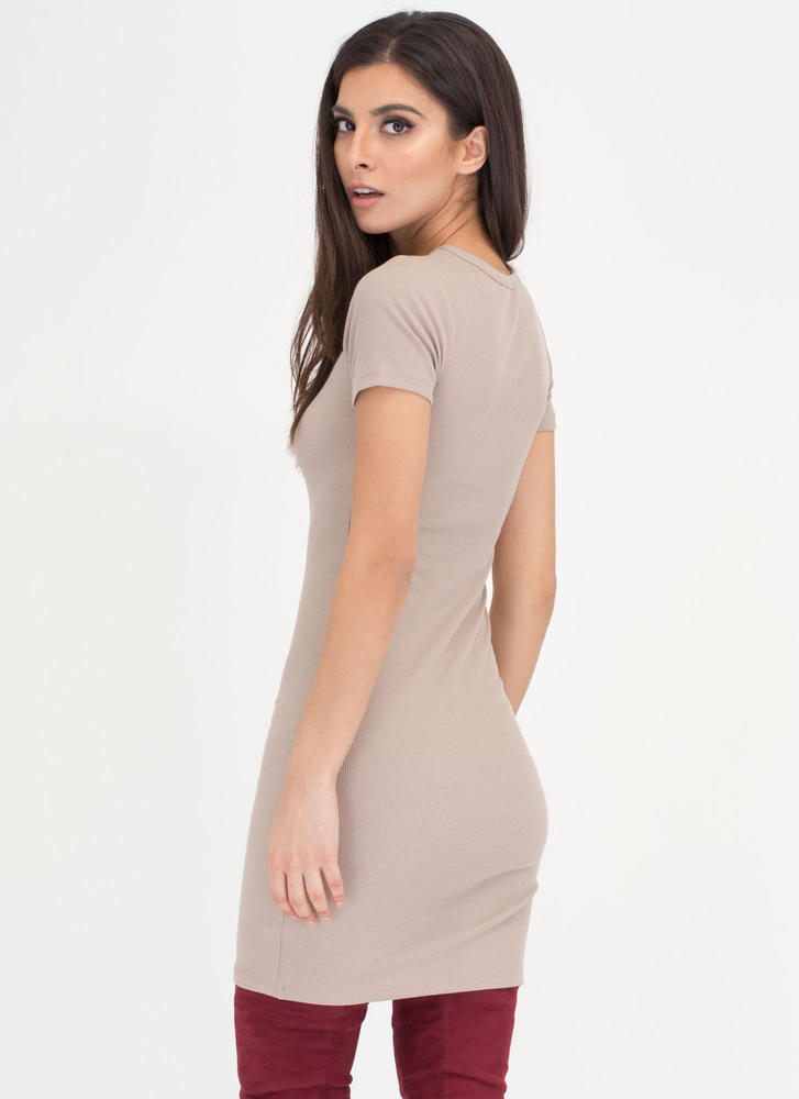 Learn The Basics Ribbed Minidress COFFEE
