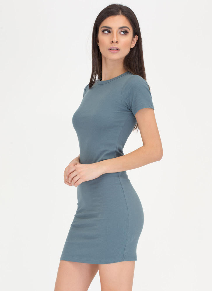 Learn The Basics Ribbed Minidress GREY