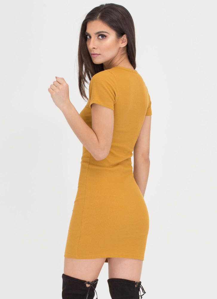 Learn The Basics Ribbed Minidress MUSTARD
