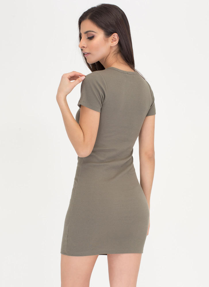 Learn The Basics Ribbed Minidress OLIVE
