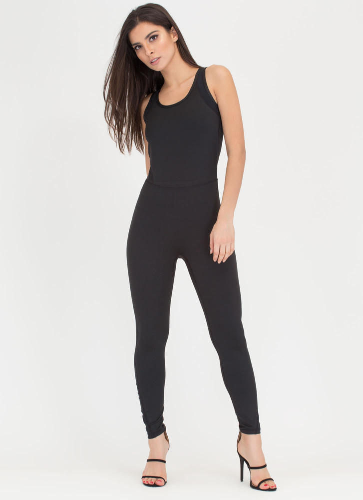 Back Up Sheer Inset Jumpsuit