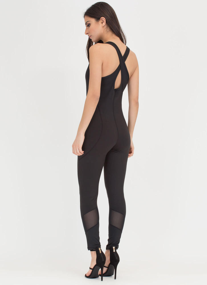 Style Crossover Sheer Inset Jumpsuit BLACK