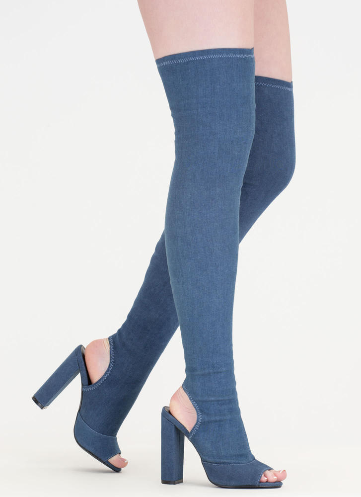 Jean Sweep Chunky Thigh-High Boots