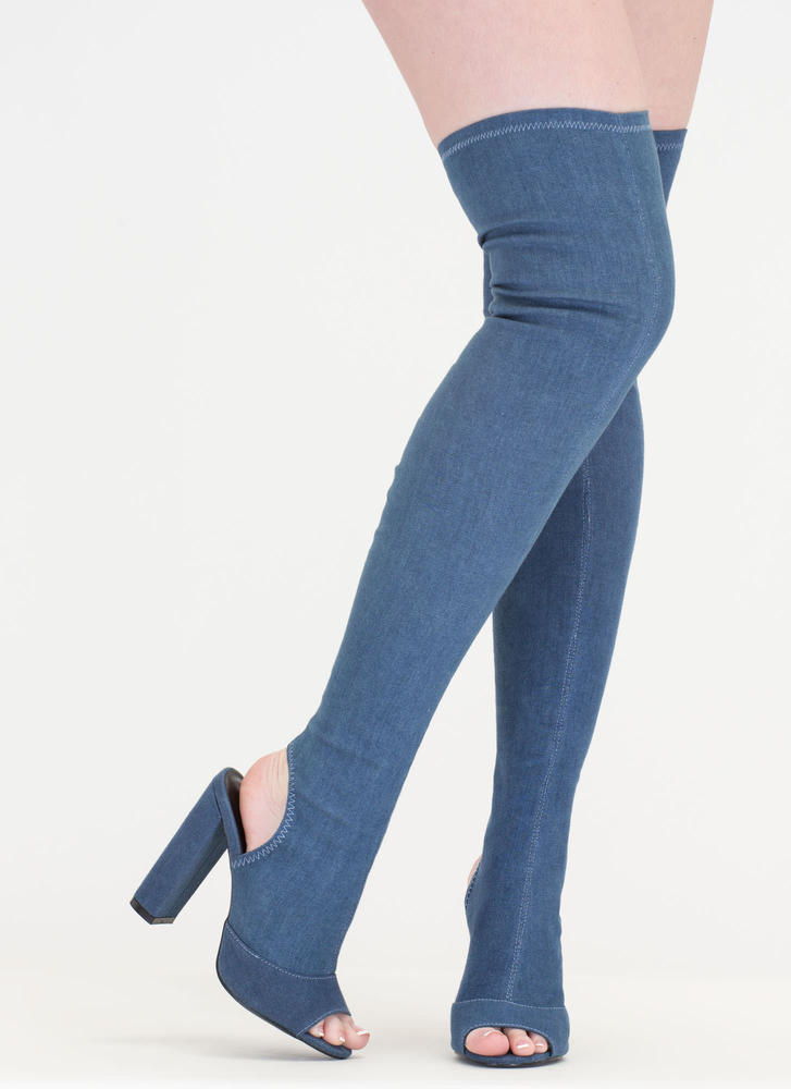Jean Sweep Chunky Thigh-High Boots BLUE