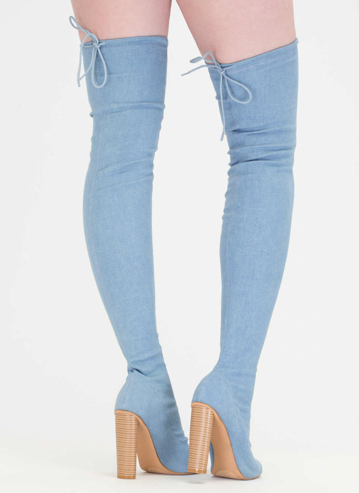 Jean Streak Chunky Tied Thigh-High Boots BLUE