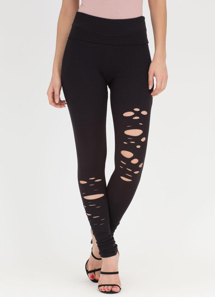 Hole-some Cut-Out Leggings BLACK