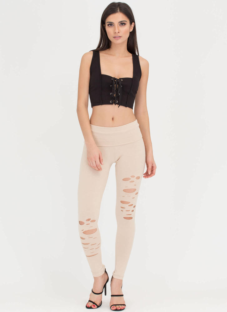 Hole-some Cut-Out Leggings KHAKI