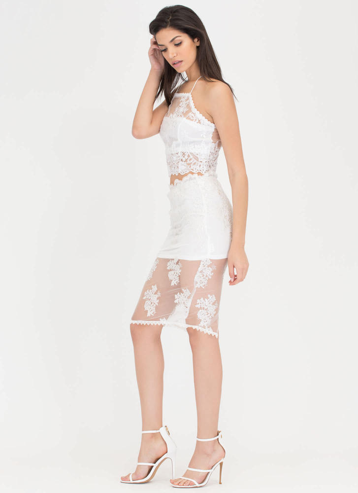 Sheer Of It Floral Lace Two-Piece Dress WHITE