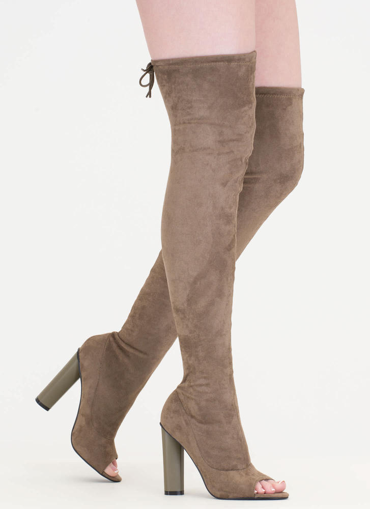 Stylish Tie Chunky Thigh-High Boots OLIVE