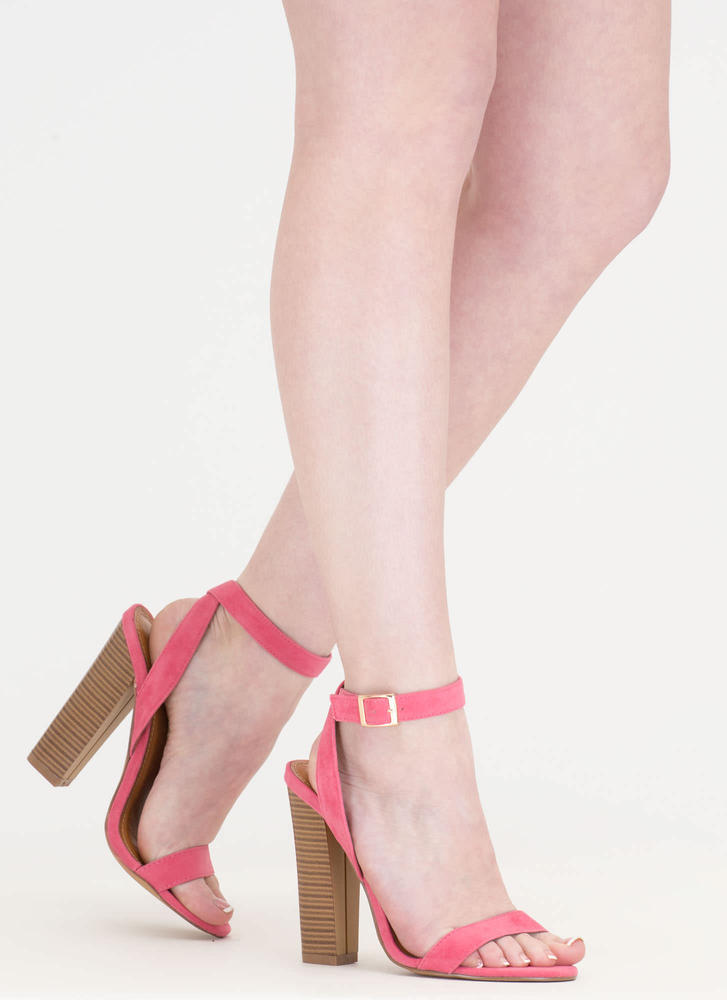 Wrap Sensation Chunky Strappy Heels CORAL
