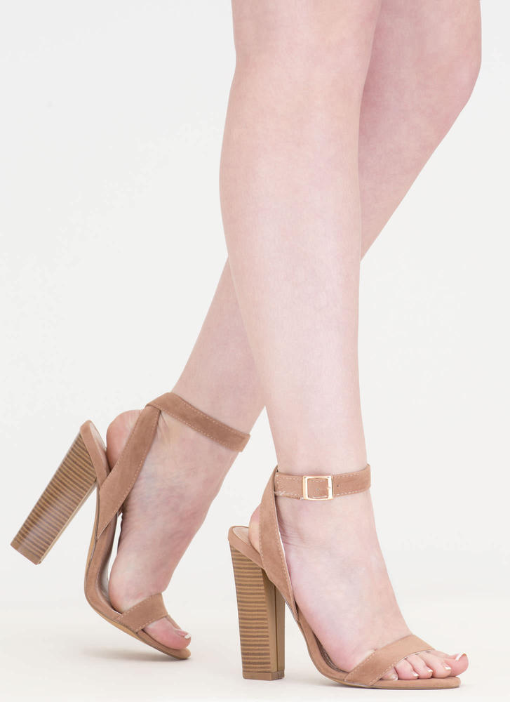 Wrap Sensation Chunky Strappy Heels TAUPE