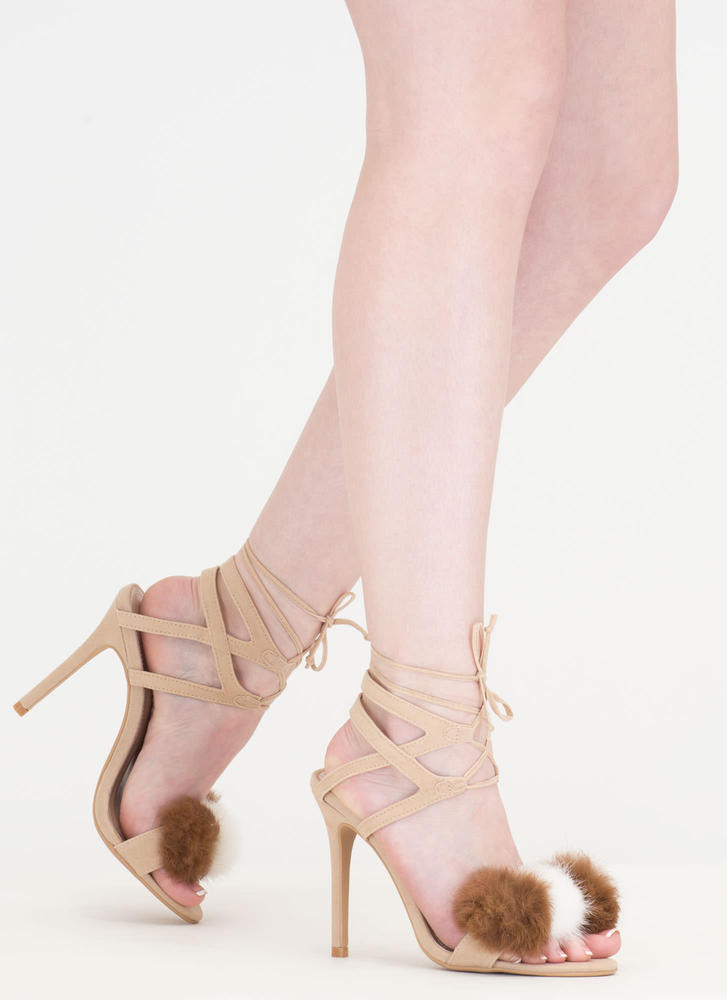 Pom-Pom Parade Strappy Lace-Up Heels