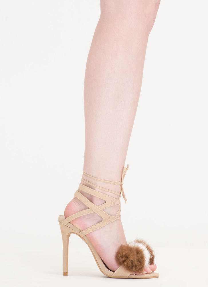 Pom-Pom Parade Strappy Lace-Up Heels NUDE
