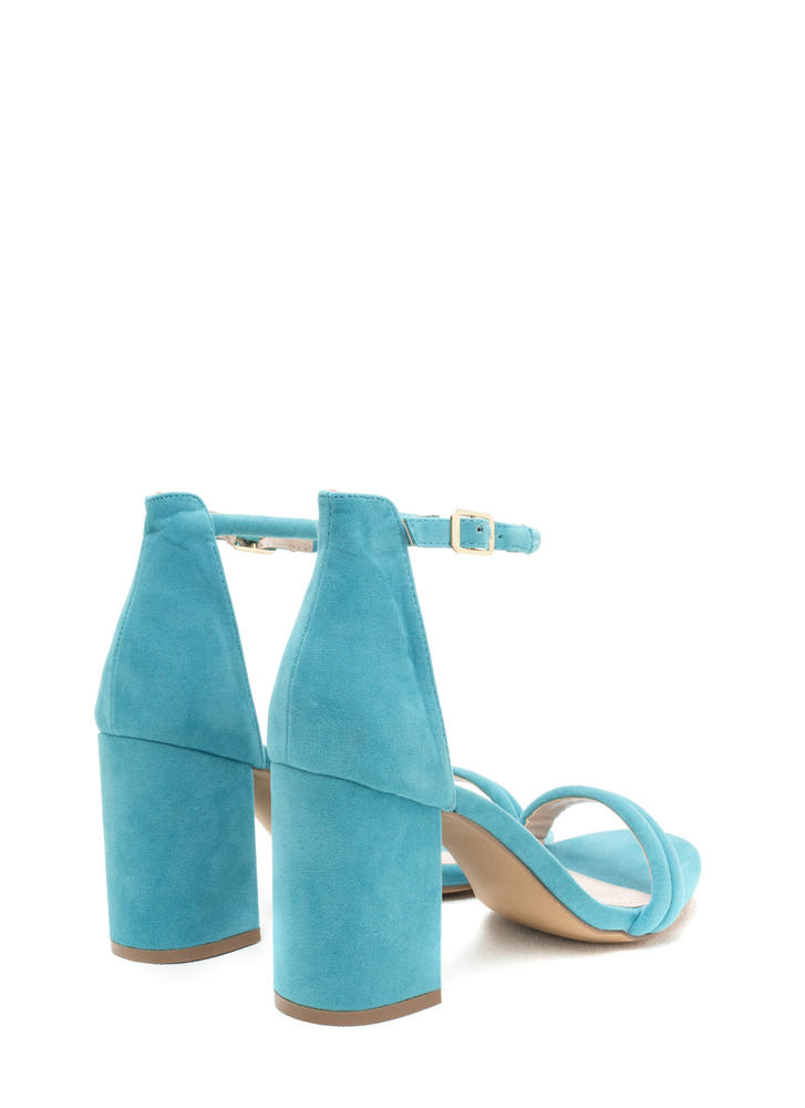 Block Out Strappy Chunky Velvet Heels AQUA