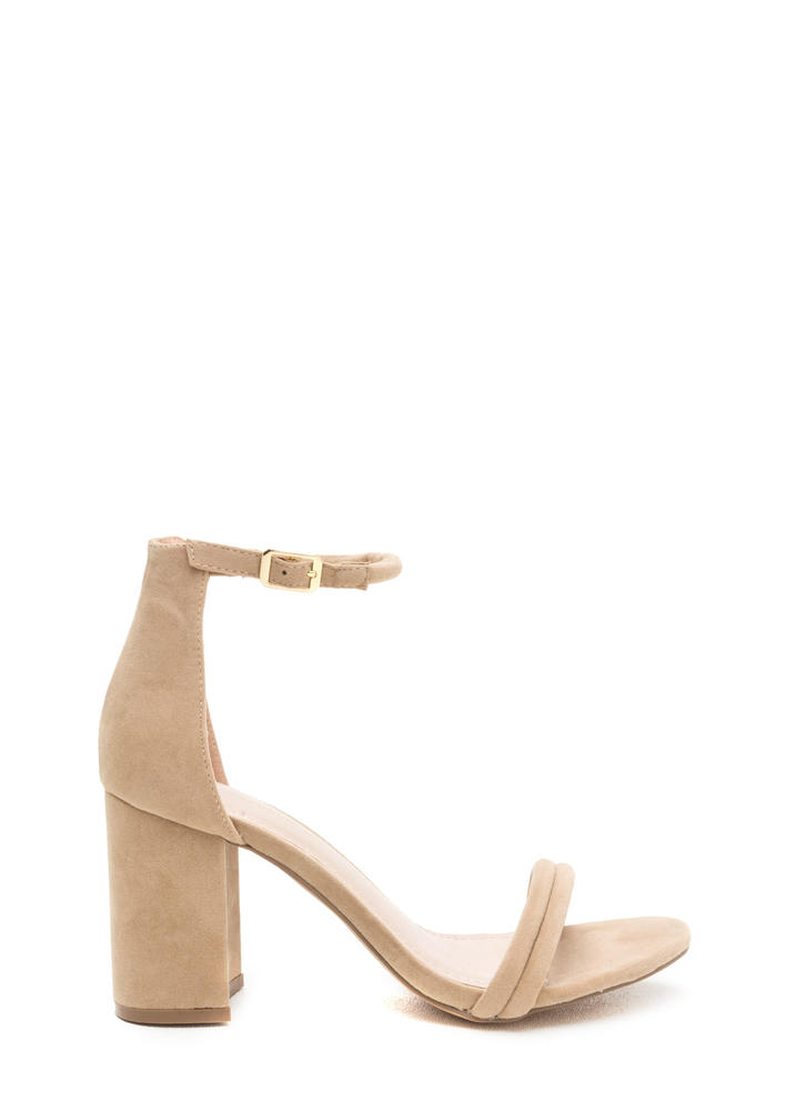 Block Out Strappy Chunky Velvet Heels NUDE