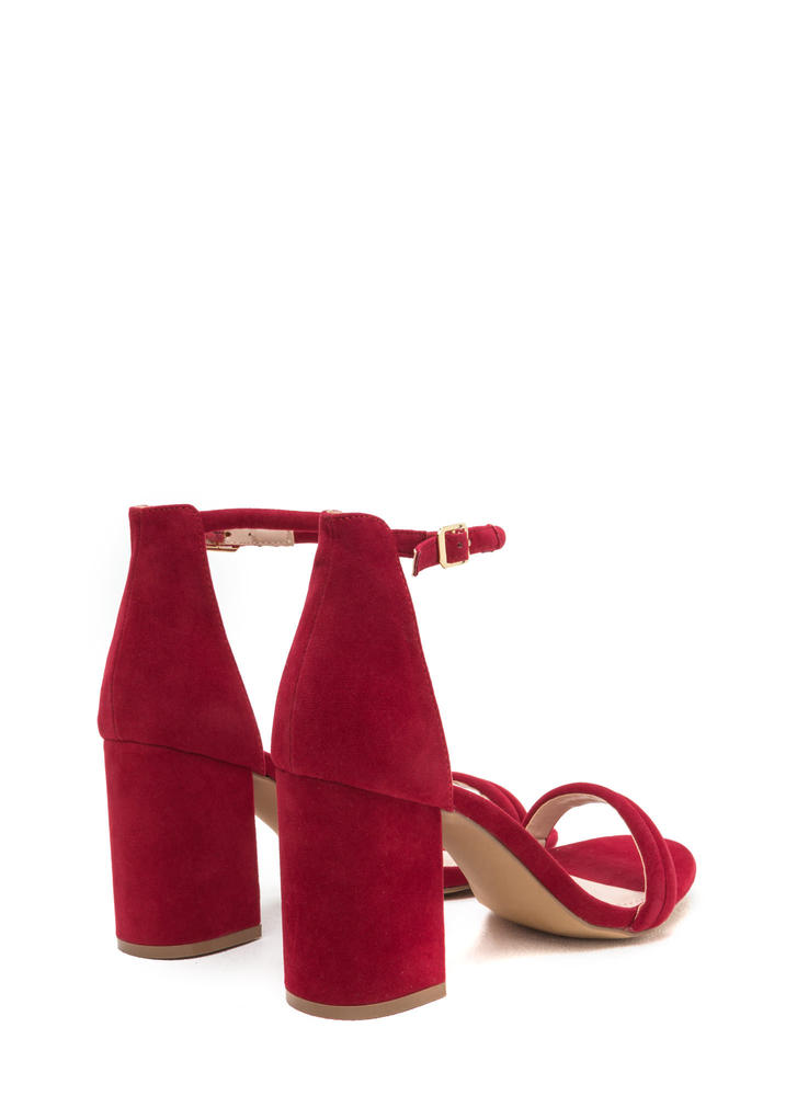 Block Out Strappy Chunky Velvet Heels RED