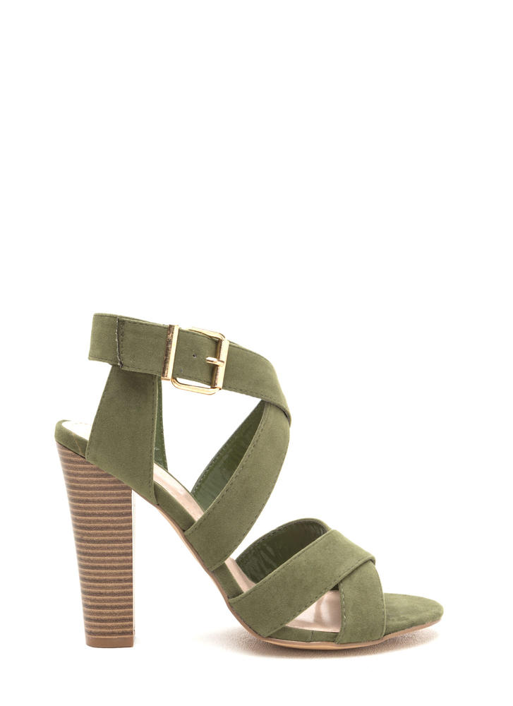 X Education Strappy Chunky Heels