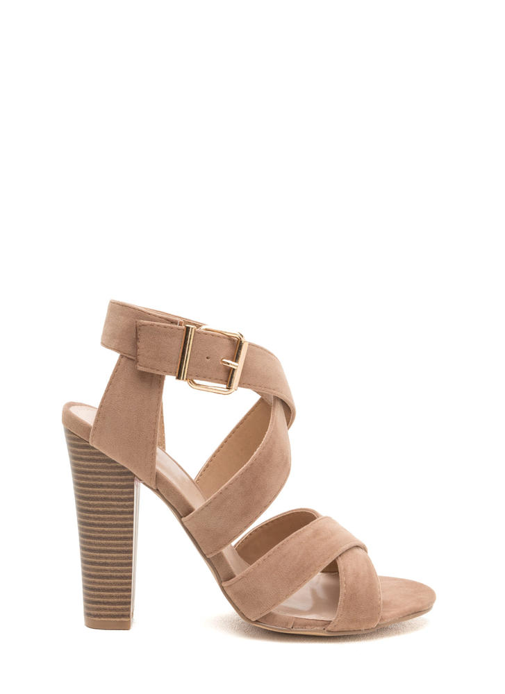 X Education Strappy Chunky Heels TAUPE