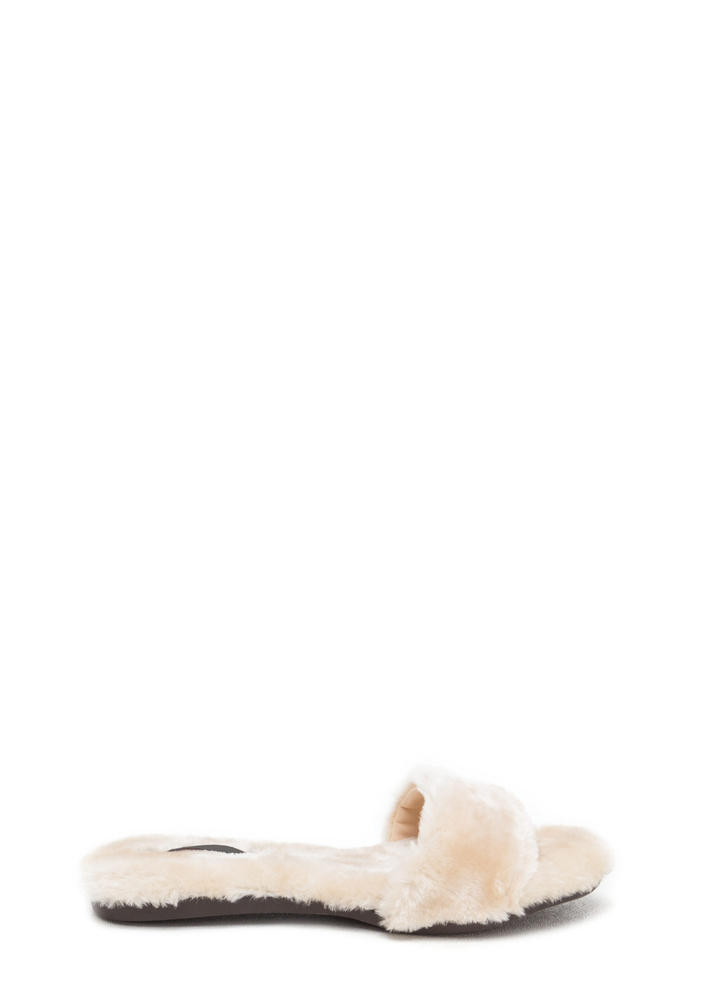 Furry Up Lined Slip-On Sandals NUDE