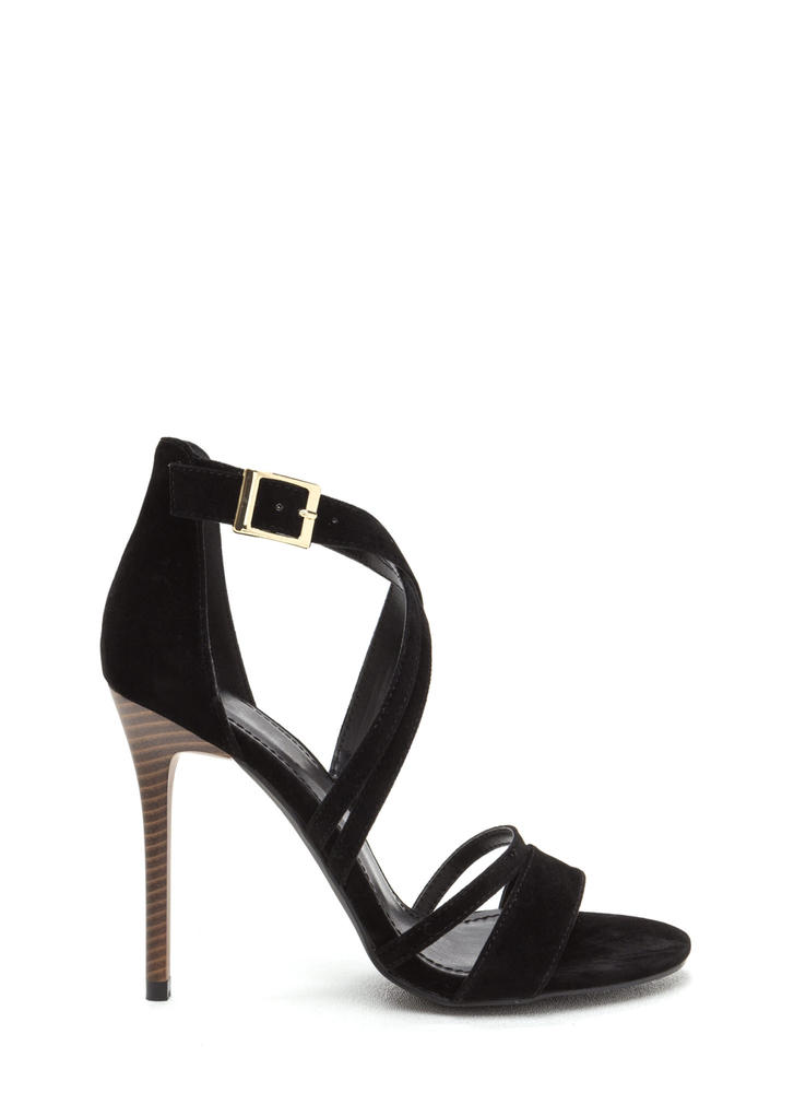 Strappy Hour Asymmetrical Caged Heels BLACK (Final Sale)