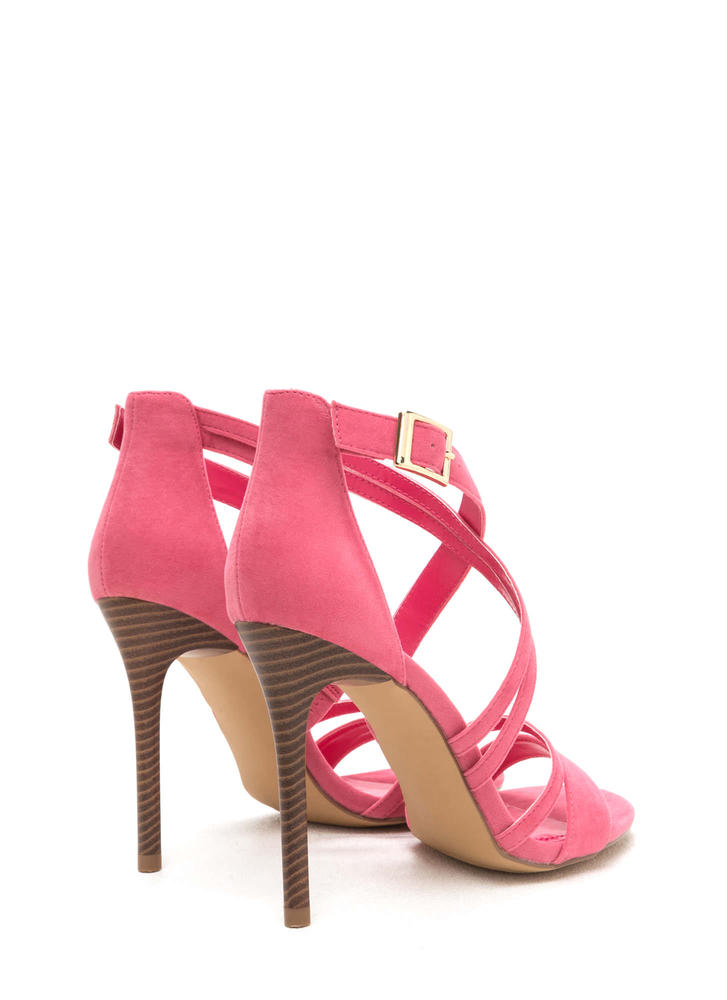 Strappy Hour Asymmetrical Caged Heels CORAL