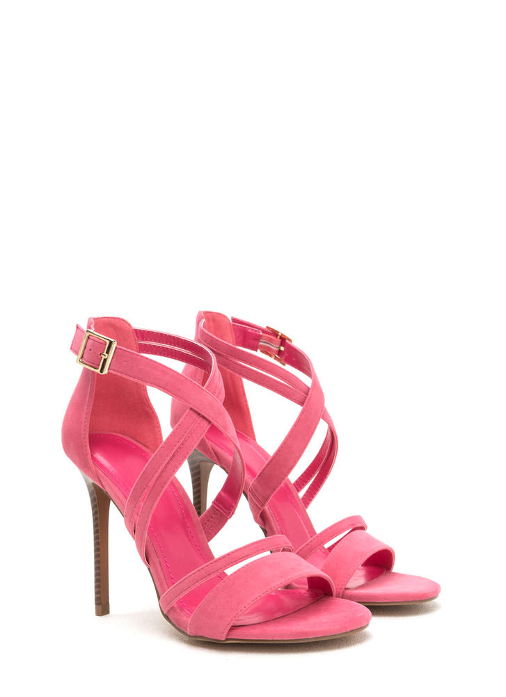 Strappy Hour Asymmetrical Caged Heels CORAL (Final Sale)