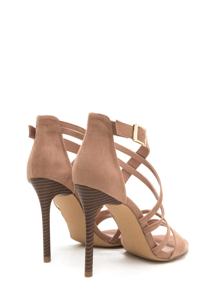 Strappy Hour Asymmetrical Caged Heels TAUPE (Final Sale)