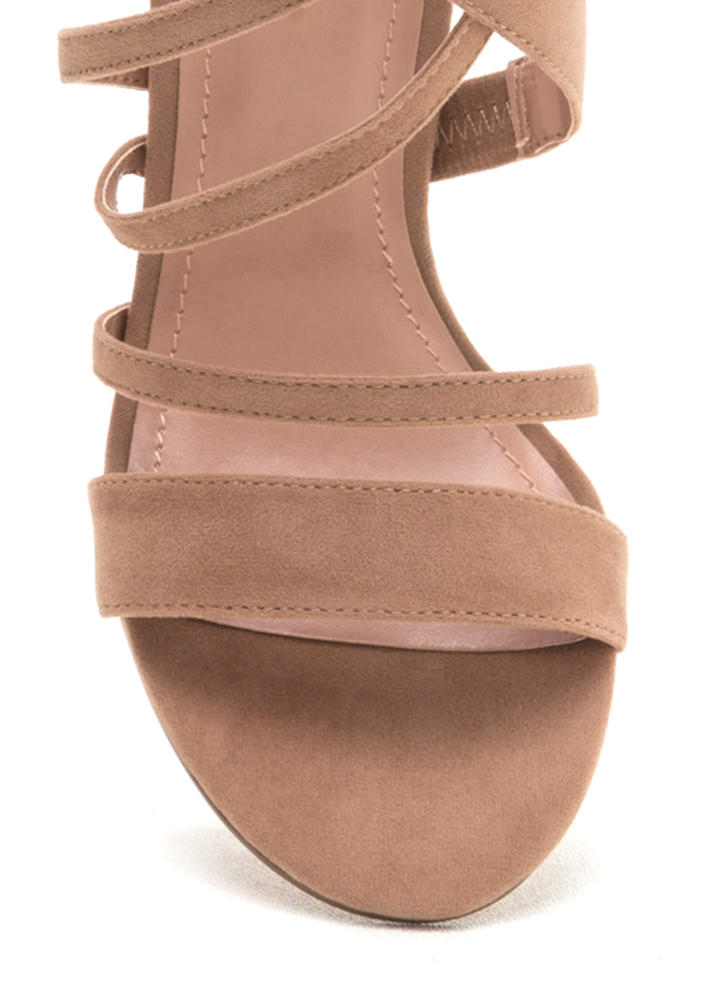 Strappy Hour Asymmetrical Caged Heels TAUPE