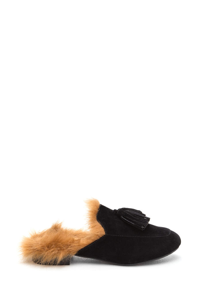Furry Up Tasseled Moccasin Mules BLACK