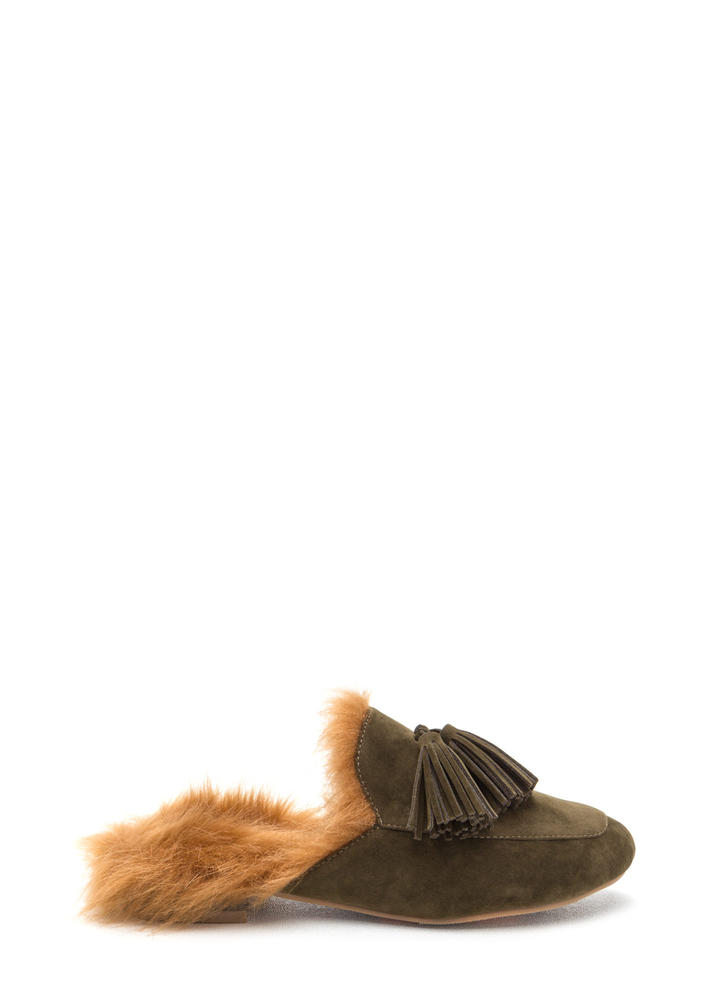 Furry Up Tasseled Moccasin Mules