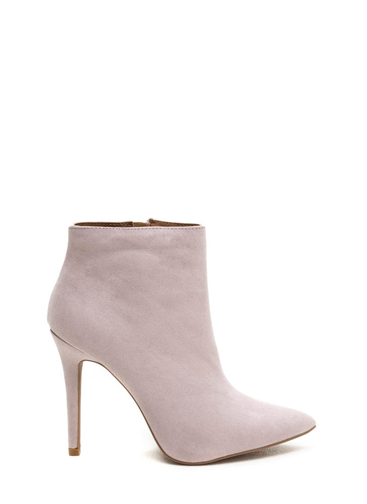 Match Point Faux Suede Stiletto Booties