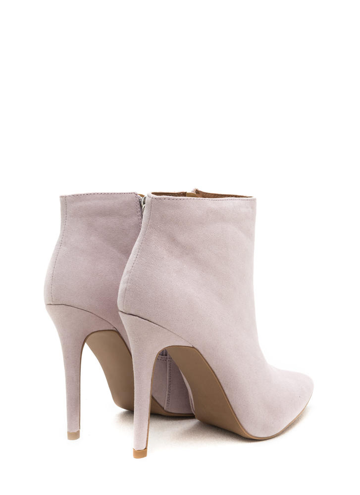 Match Point Faux Suede Stiletto Booties LAVENDER