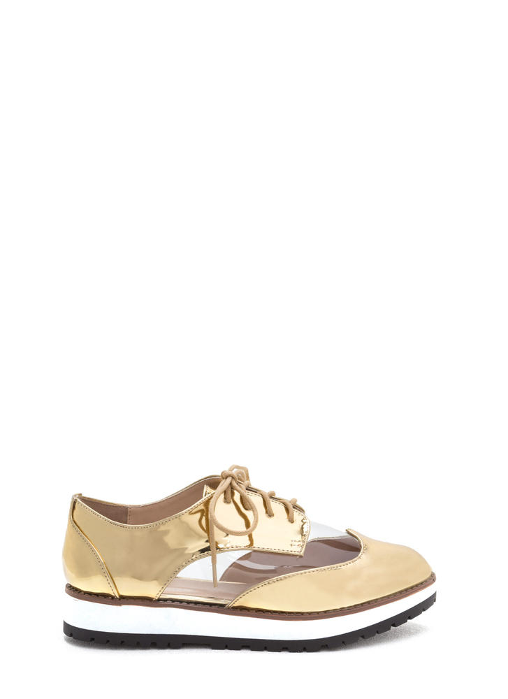 Tomboy Style Clear Metallic Oxford Flats